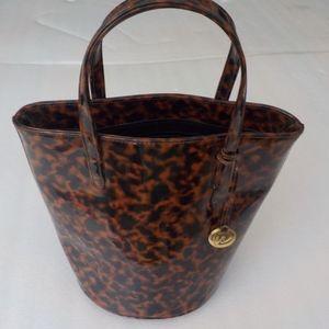 LIZ Animal Print Blk/Brown Faux Patent Bag